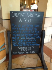 The sign at Smoky Hill Library for the class I taught on the Writing Process